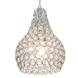 Popilion Ornate Chrome Crystal Ceiling Pendant Light,Adjustable Pendant Lighting with Crystal La ...