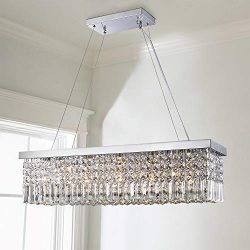 Saint Mossi Modern K9 Crystal Rectangle Raindrop Chandelier Lighting Flush Mount LED Ceiling Lig ...